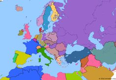 Political map of Europe & the Mediterranean on 10 Feb 1947 (The Cold War: Paris Peace Treaties), showing the following events: Nuremberg Trials; Greek Civil War; Bizone; Treaty of Peace with Italy; Paris Peace Treaties; Paris Peace Treaties.