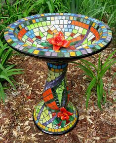 Mosaic birdbath I CAN IMAGINE ONE IN MY GARDEN FOR THE BIRDS W' THEIR LOVELY TUNES & A REFRESH FOR THEM IN THE HEAT OF OUR HOT, HOT SUMMERS. <3 @
