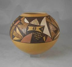Polychrome painted Hopi jar by Nampeyo family artist Steve Lucas.