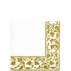 Linen-Like Premium White Gold Scroll Beverage Napkins 24ct
