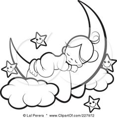 Royalty-Free (RF) Clipart Illustration of a Coloring Page Outline Of A Cute Girl Sleeping On A Crescent Moon By Happy Stars by Lal Perera