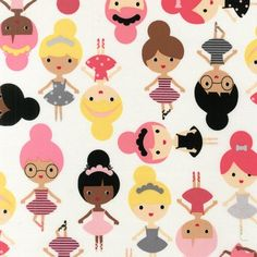 Girl friends Ballerina quilt or craft fabric by by fabricshoppe, $3.00