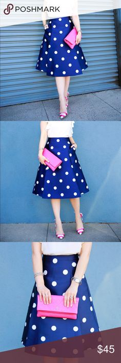CHICWISH Navy & White Polka Dot Midi Skirt XS Gorgeous blue A-line midi skirt with white polka dots. 100% Polyester, exposed back zipper, side pockets. Worn only once for these photos. Chicwish size XS.   SORRY NO TRADES  ❌NO PAYPAL/MERCARl❌ Chicwish Skirts Midi