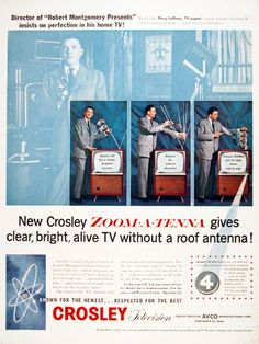 """1956 Crosley Television Set original vintage advertisement. Featuring the new Zoom Antenna for bright clear TV without a roof antenna. Endorsement by Perry Lafferty, director of """"Robert Montgomery Presents""""."""
