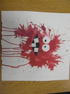 Blow paint Monster, Really fun lesson that teaches a new way to paint without a brush, Use your breath to move the paint across the paper. Add fun eyes and mouth and Wow, what a great monster Art Lessons For Kids, Art Lessons Elementary, Art For Kids, Halloween Activities, Art Activities, Halloween Crafts, Kindergarten Art, Preschool Crafts, Classe D'art