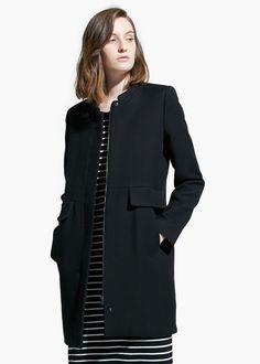Wool-blend straight-cut coat