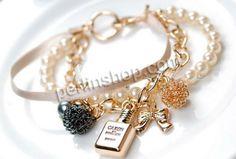 Glasperlen Armband, Eisen, mit Satinband & Kristall & Glasperlen & Zinklegierung, goldfarben plattiert, 3-Strang, frei von Nickel, Blei & Ka...