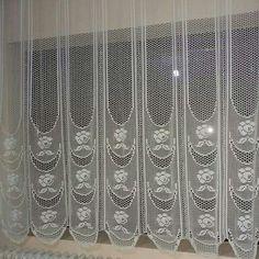 Perde Manta Crochet, Crochet Art, Filet Crochet, Crochet Motif, Crochet Doilies, Crochet Curtain Pattern, Crochet Curtains, Curtain Patterns, Lace Window