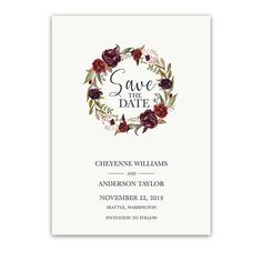 Save the Date Cards Wine Burgundy Floral Wreath featuring watercolor florals in blush, wine and burgundy and stylish modern typography for modern weddings.