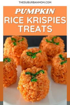 Halloween is just around the corner. What better way to prepare, than with some sweet rice krispie treats? You know you want it! Check out the blog for more details on how to make these Pumpkin Rice Krispies Treats! These spookily delicious Halloween dish recipe is so much fun to prepare and can serve as a Halloween decoration as well! Yep, it's that cute! This easy recipe is unbeatable, I guarantee! #pumpkinrecipe #pumpkindesserts #ricekrispierecipe #halloweenpartyfood #partyfoodideas Halloween Dishes, Halloween Food For Party, Halloween Treats, Pumpkin Rice Krispie Treats, Rice Krispy Treats Recipe, Pumpkin Recipes, Rice Krispies, Food Dishes, Easy Meals