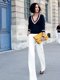 white linen pants navy sweater , marigold clutch