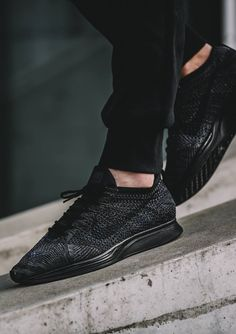 On-Feet Images Of The Nike Flyknit Racer Triple Black Nike Flyknit Black, Nike Flyknit Racer, Black Nike Shoes, Black Sneakers, Black Nikes, Adidas Shoes, Best Sneakers, Sneakers Fashion, Fashion Shoes