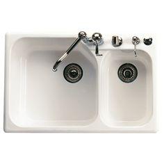 Kitchen Sink by Rohl | Allia Fireclay 2 bowl Kitchen Sink/ Pergame | Revuu