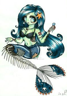 zombie mermaid tattoos | Zombie-Mermaid by ~ThaliaAngel91 on deviantART