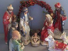 Nativity scene / vintage nativity set / 9 by cgraceandcompany