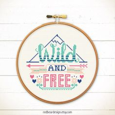 Funny Quote Cross stitch pattern PDF - Wild And Free - Xstitch Instant download - Modern typographic love freedom for sweet home decoration