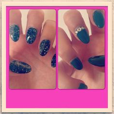 Nails gris noir paillettes strass dégrader couleur ongles gel