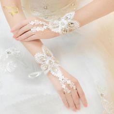 Luxury Sparkling Diamond Hot Sale Sequins Lace Wedding Gloves Fingerless Wedding Golve Wedding Accessories G009
