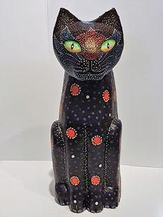 Katze aus Holz geschnitzt mystisch originell Deko Tierfigur Skulptur Handarbeit | eBay