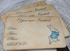 4 PETER RABBIT INVITATIONS-Vintage Style-Birthday-Christening-Baby Shower-Naming