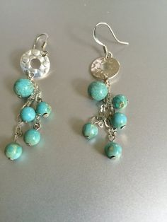 Turquoise Bead and Chain Earrings by joytoyou41 on Etsy
