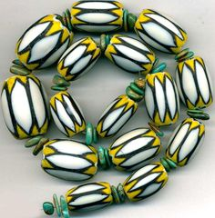 "Chevron BEADS 6 Layer Trade Beads White/Yellow/Black 20-28mm Turquoise 16"" St Tucson Gem Show, Yellow Black, Chevron, Layers, Turquoise, Beads, Design, Layering, Beading"