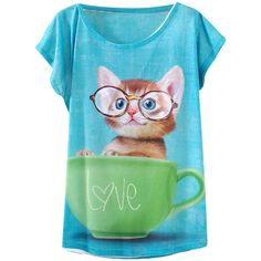 Blue Cup Cat Printed Casual Stylish Womens Tee Shirt (32 BRL) ❤ liked on Polyvore featuring tops, t-shirts, shirts, tees, cat print t shirt, cat print top, cat shirt, tee-shirt und blue tee