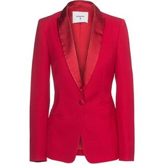 Dondup Smoking Red // Virgin wool blazer ($590) ❤ liked on Polyvore featuring outerwear, jackets, blazers, evening jackets, blazer jacket, collar jacket, red blazer and pocket jacket