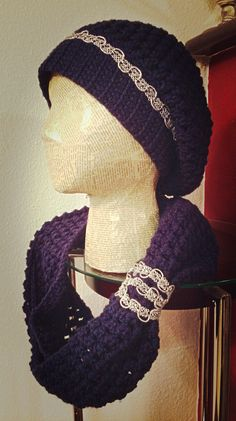 Beautiful crochet slouch hat and scarf set.
