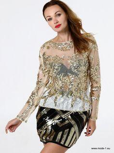 d5825bcb5ff Damen Bluse mit Rundhalsausschnitt und transparenten Pailletten Stickereien  in Beige  sexy  damen  bluse
