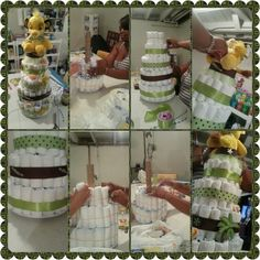 5 tier Lion King Baby Shower Diaper Cake in the making!