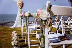 Avoid metal chairs if your sunny wedding is outdoors. If it's metal, you can provide thick cushions to act as an anti-heat conductor.