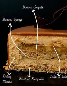 This banana Dulcey entremet is a cake to impress with its intense banana taste and smooth, silky Dulcey mousse, builton a crunchy dacquoise layer. Fancy Desserts, Köstliche Desserts, Plated Desserts, Delicious Desserts, Dessert Recipes, Cupcake Recipes, Banana Sponge Cake, Entremet Recipe, Desert Recipes