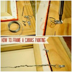 How to frame a canvas print/ canvas painting tutorial. Frames For Canvas Paintings, Canvas Painting Tutorials, Painting Tips, Canvas Frame, Canvas Prints, Canvas Art, Framing Canvas, Pour Painting, Canvas Ideas