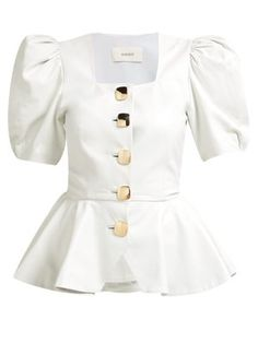 Great for Rodarte Square-neck puffed-sleeve leather blouse Womens Clothing from top store Fashion 2020, Look Fashion, Fashion Outfits, Womens Fashion, Fashion Design, Classy Outfits, Casual Outfits, Partys, Trendy Tops