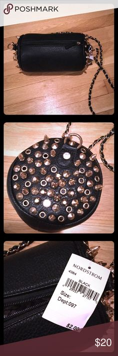 Purse NEVER WORN- black pleather purse with gold chain strap , decorated with gold studs and silver gems . Nordstrom Bags Crossbody Bags