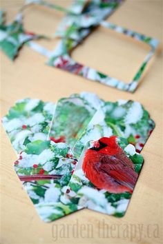 Recycling Cards into Gift Tags - Its simple reduces waste and is a great way to save the thoughtful holiday cards you were lucky enough to receive. Christmas Card Crafts, Christmas Gift Wrapping, Green Christmas, Holiday Crafts, Christmas Holidays, Recycled Christmas Gifts, Fun Crafts, Christmas Ideas, Celebrating Christmas