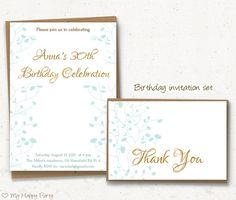 82 best adult birthday invitation images on pinterest birthday woman birthday invitation set woman birthday party blue flower invitation printable 30th 40th 50th invitation thank you card filmwisefo