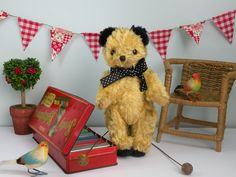 Sooty a C1950/60 European Sooty bear playing on a original 'Sooty' toy xylophone   www.onceuponatimebears.co.uk