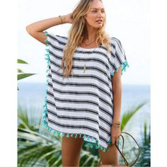 Bikini White Hollow Out Tassel Cover Up