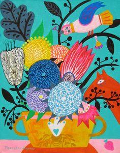 Folk flowers art painting by BohoGarden Art And Illustration, Floral Illustrations, Painting Illustrations, Art Floral, Bohemian Art, Coastal Art, Botanical Art, Love Art, Printable Art