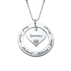 Personalized Grandmother's Heart Necklace in Sterling Silver