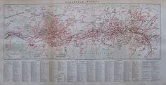 1892 ELBERFELD BARMEN Original historische Stadtkarte antique map Lithographie    eBay