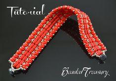 Beaded bracelet tutorial superduo bead pattern от BeadedTreasury