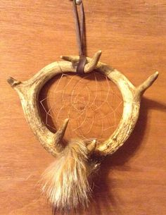 Deer antler dream catcher coyote fur by CydsCreations on Etsy