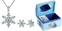 """Disney Girls' """"Frozen"""" Silver-Plated Snowflake Pendant Necklace and Earrings Jewelry Set with Mini Treasure Chest"""