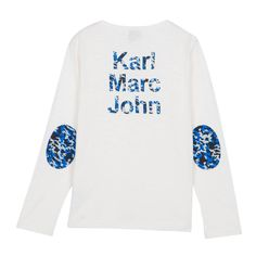 Little Karl Marc John Tichou Henley Neck T-Shirt with Elbow Patches-product