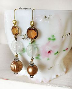 amberupcycled beaded earrings dangle earrings repurposed by Arey, $12.00