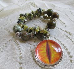 Dragon's eye hand painted bracelet charm with by GameorGoth
