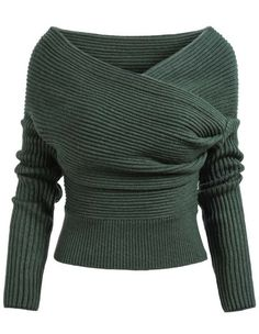 Green Boat Neck Ribbed Sweater pictures